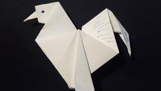 Петух из бумаги. Сложно! Оригами на Новый год 2017