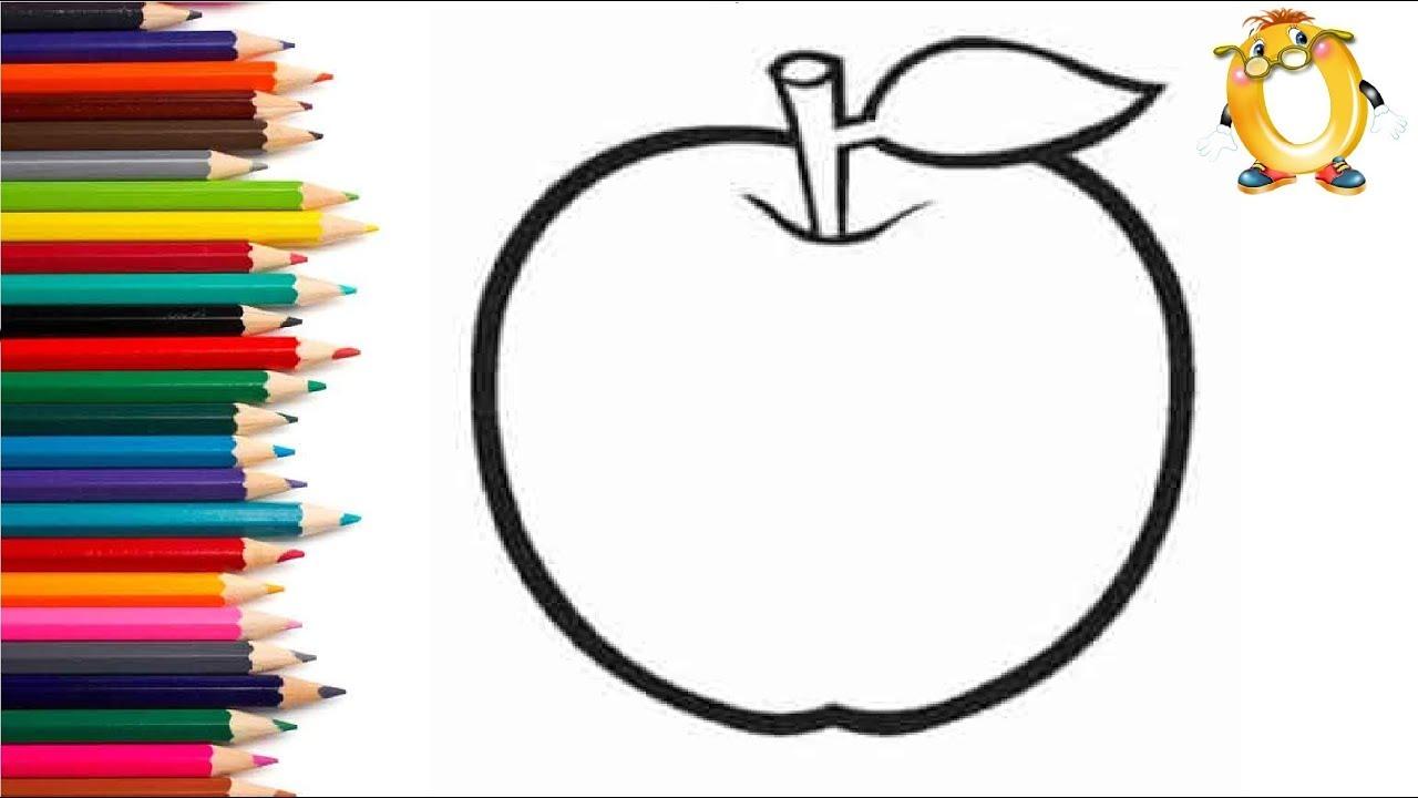 Раскраска для детей ЯБЛОКО. Мультик - Раскраска. Учим ...