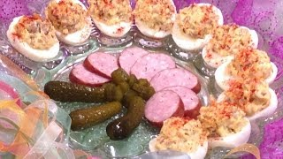 Deviled Eggs With Polish Sausage