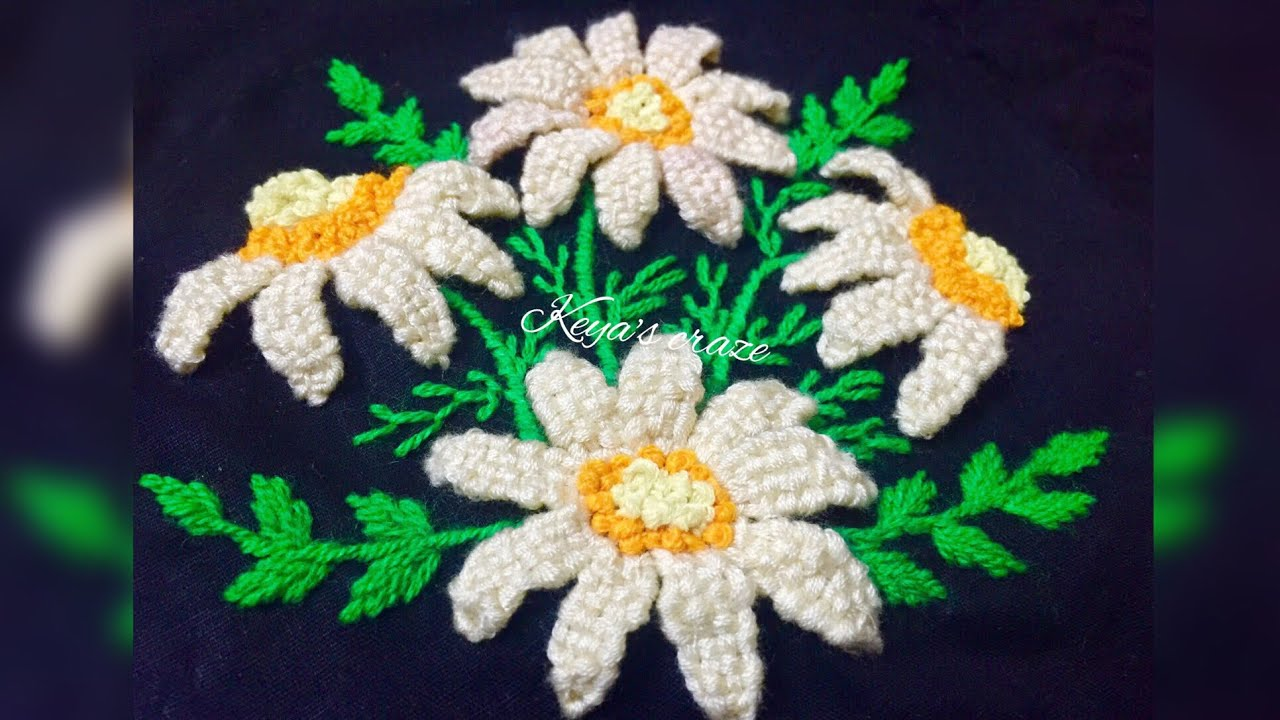 White daisy hand embroidery 3d daisy flower hand embroidery white daisy hand embroidery 3d daisy flower hand embroidery how to stitch a daisy flower 147 dhlflorist Images