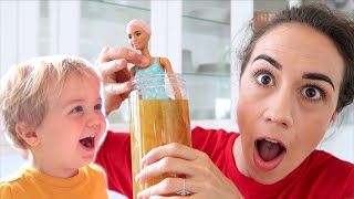 Testing The Color Changing Barbie with Flynn!
