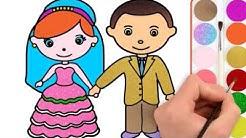 Gelin Damat Boyama Renkleri öğreniyorum çocuk şarkısı Boyama Sayfaları