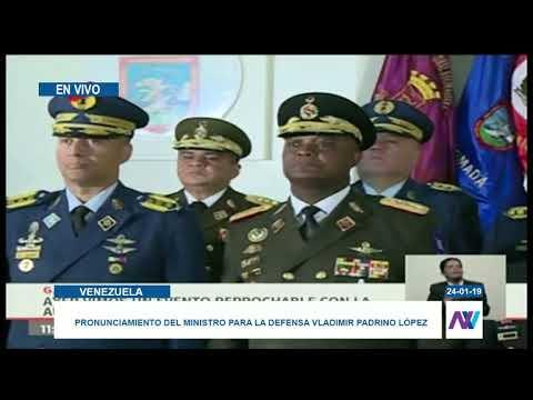 Los jefes militares de Venezuela apoyaron a Nicolás Maduro y denunciaron golpe de Estado