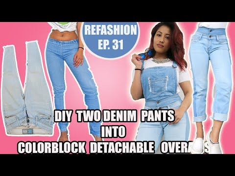 DIY: Convert Old Jeans Into Detachable Dungaree/Overalls| Re
