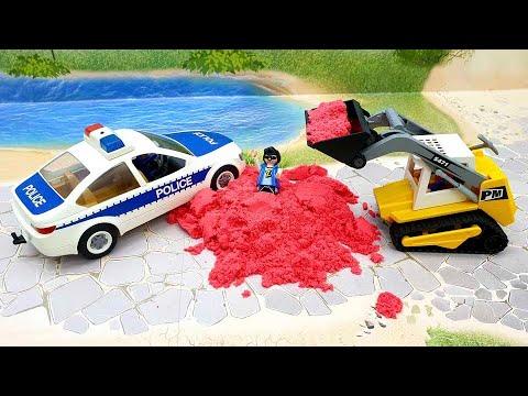 Мультики про машинки с игрушками Плеймобил - Борьба за сокровища. Полицейская машинка и Бульдозер.