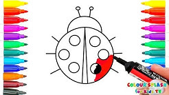 Ladybug Coloring Page for kids children to Learn Colors