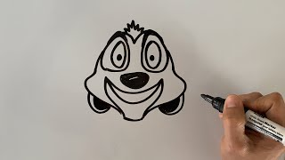 How to draw Timon   Lion King   Daily Doodles   Doodles by Ron