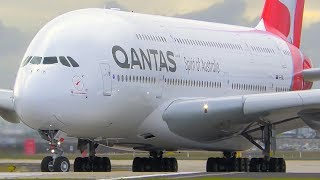 incredible airbus a380 close up takeoff landing qantas melbourne airport plane spotting