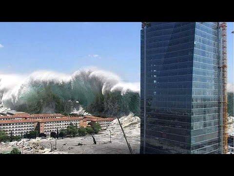 Шокирующее видео цунами