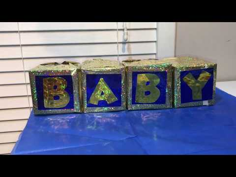DIY Baby Shower Blocks (dollar store edition)  How to make INEXPENSIVE centerpieces