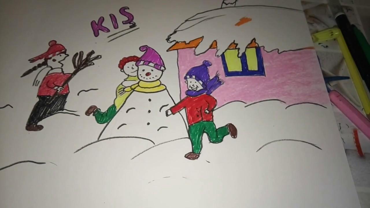 Kış Resmi Nasıl çizilirkış Resmi çiz Youtube