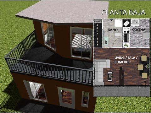 Planos casa moderna 2 pisos 6m x 12m villa del sol doovi for Casa moderna 7x7