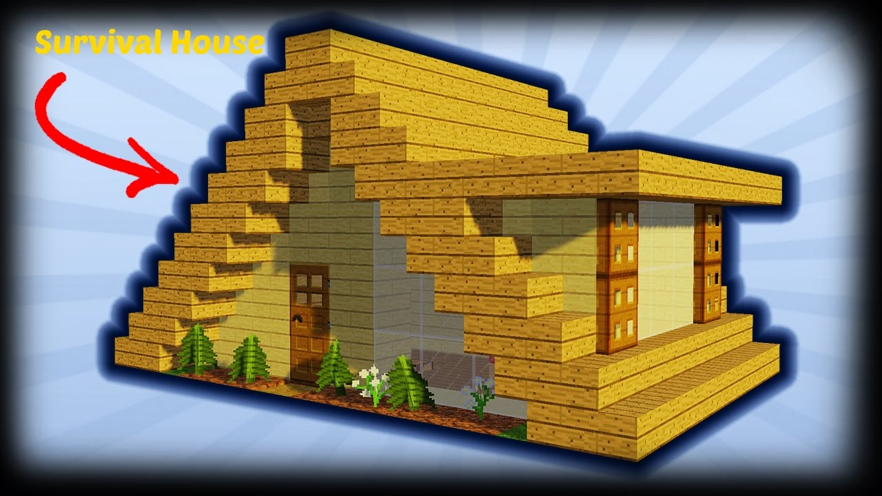 Minecraft how to build a small a frame house tutorial for How to build a small home
