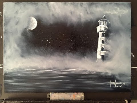 #173. How To Paint A Misty Moon Lit Light House