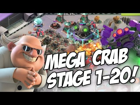 CRAZY MEGA CRAB ATTEMPT! Beating Stages 1-20 | Boom Beach Dr T Mega Crab Gameplay