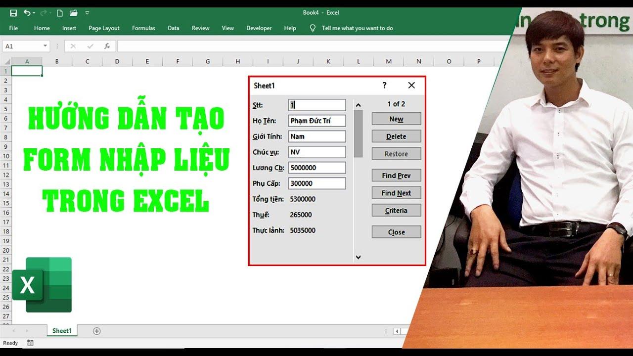 Tạo Form nhập liệu trong Excel