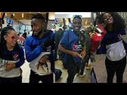 Bbnaija 2018: See Tobi,Ceec,Alex,Miracle,Nina, Fans Dancing & Having Fun At The Airport In Nigeria