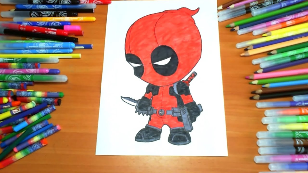 deadpool new coloring pages for kids colors superheroes coloring colored markers felt pens pencils