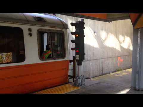 Outbound MBTA orange line train departing Wellington