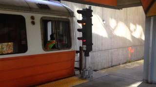 Outbound MBTA orange line train departing Wellington