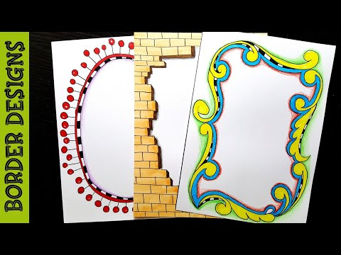 Brick frame | Border designs on paper | border designs | project work designs | borders for projects