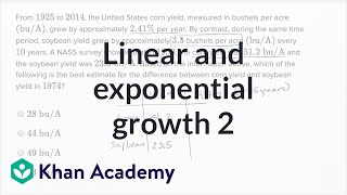 Repeat youtube video Linear and exponential growth — Harder example | Math | New SAT | Khan Academy