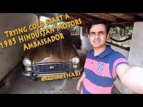 1985 Ambassador Car - Cold Starting - Trying to start a 1985 Hindustan Motors Ambassador Car