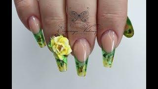 Бомбические ногти с объемной лепкой/Наращивание ногтей/Витражный выкладной френч/Зауженный квадрат