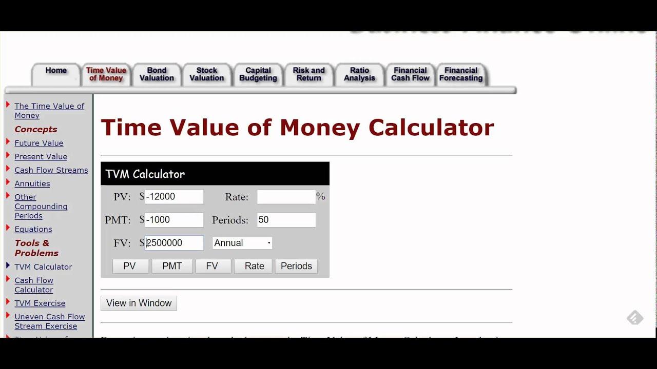FIN 216 TVM Financial Calculator Online - YouTube