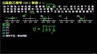 北區模擬考數乙100v3 誤差半徑與信心水準的圖示