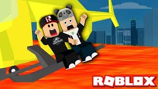 The One Who Gets In A Helicopter Gets Rid of It! We Played Escape from the Lava - Roblox Lava Survival with Panda