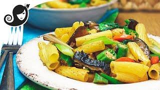 Lemongrass Vegetable Pasta Stir Fry With Okra / Ladyfinger (vegetarian / Vegan Recipe)