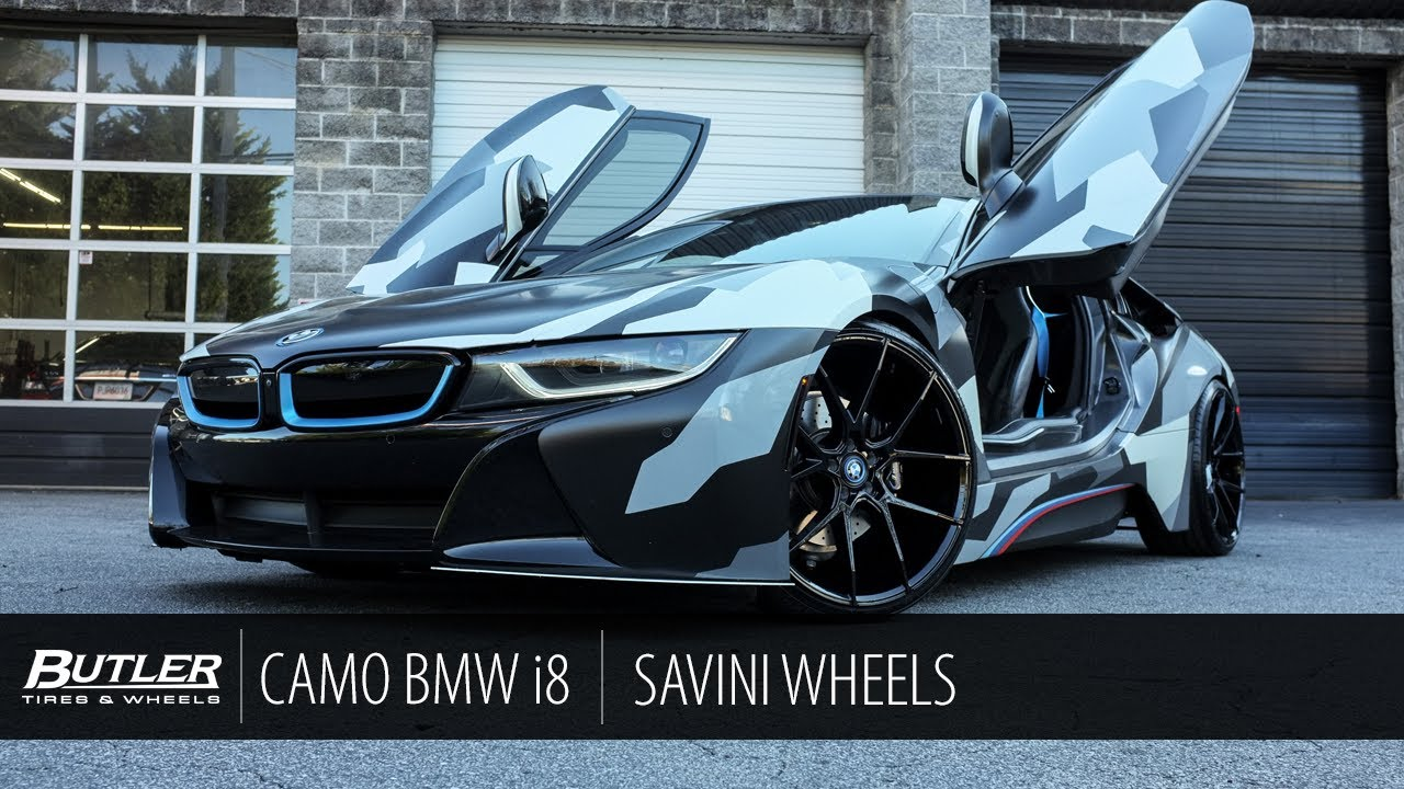 Camo Wrapped Bmw I8 Savini Bm14 Wheels Butler Tire Youtube
