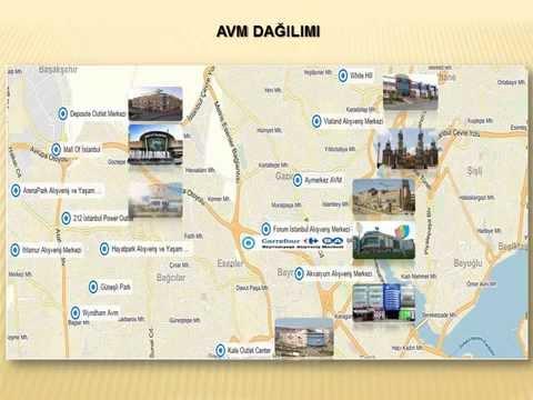 Bayrampaşa Carrefoursa Alışveriş Merkezi ile birlikte yer alan bölge AVM dağıılımı.