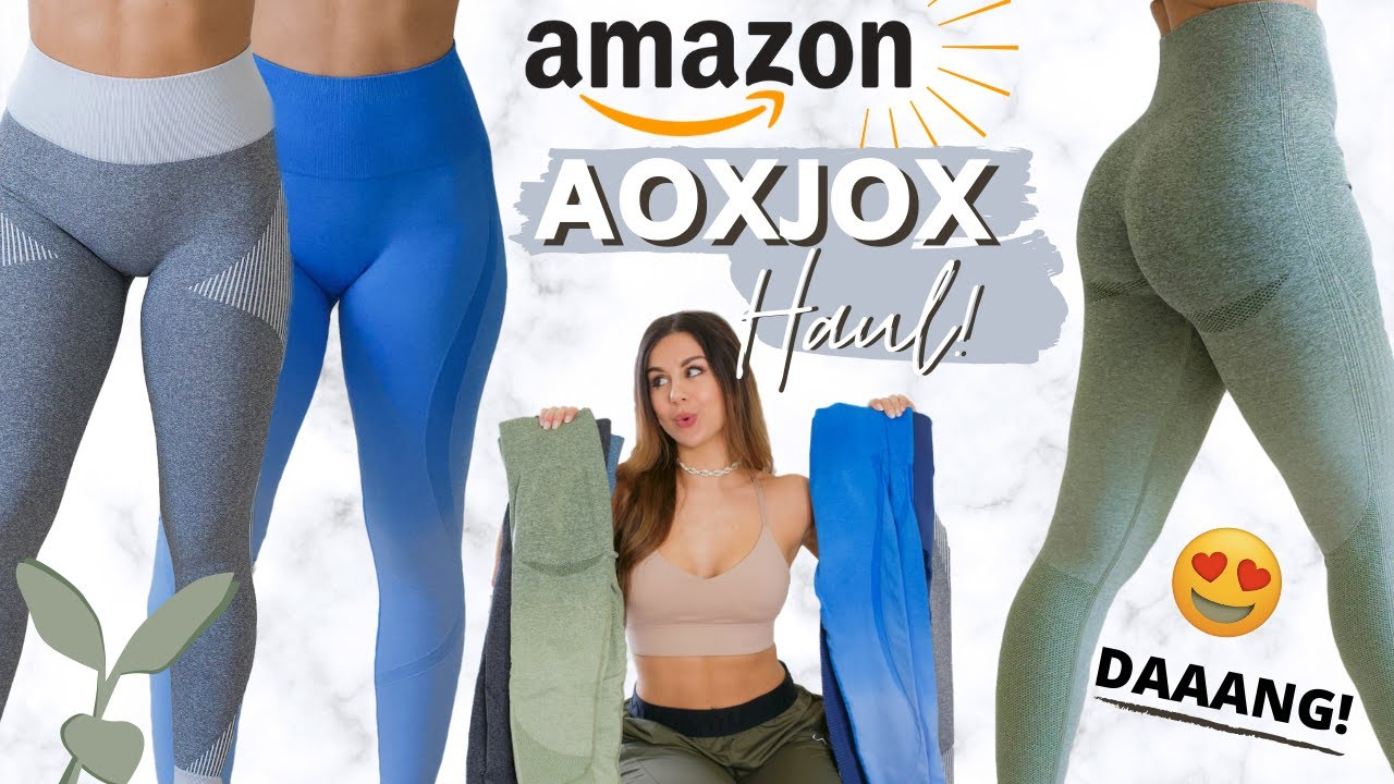 YAY OR NAY? AMAZON SEAMLESS GYM LEGGINGS REVIEW, TRY ON, HAUL! AOXJOX WORKOUT LEGGINGS AMAZON 2020