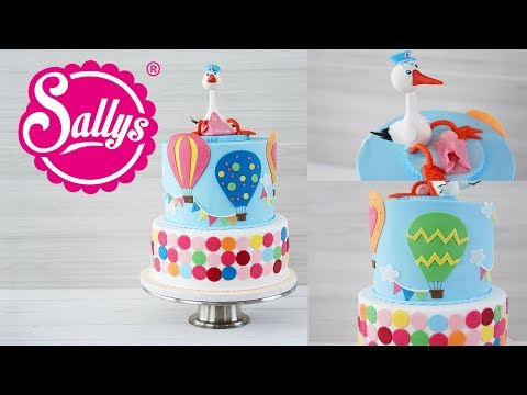 Baby Torte mit 3D Storch / Baby Shower Cake / Babyparty