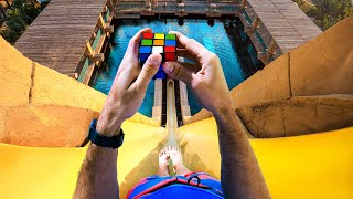 Can We Solve The RUBIK'S CUBE Down a WATERSLIDE?