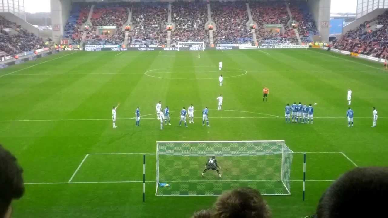 Swansea City's Gylfi Sigurdsson free kick against Wigan Athletic, 03/03/2012