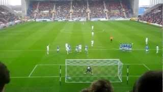 Swansea City's Gylfi Sigurdsson free kick against Wigan Athletic, 03/03/2012