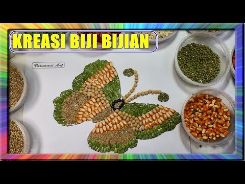 Learn Colors Green Butterfly With Collage Kupu Kupu Hijau Kreasi Kolase Biji Bijian Youtube