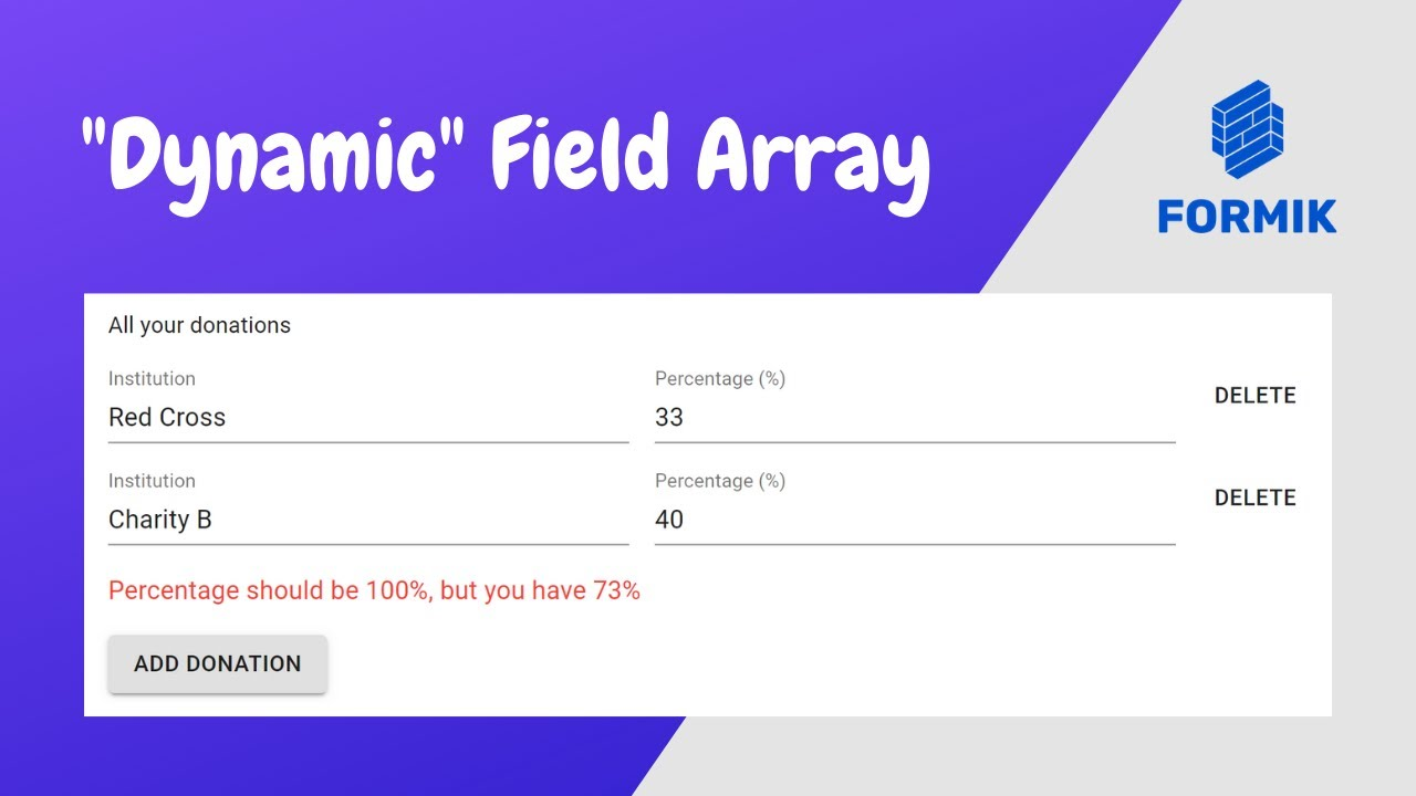 React FieldArray Form Tutorial: Using Formik, Yup and material-ui