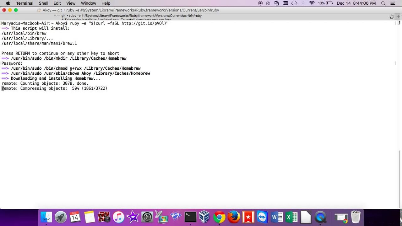 install homebrew on mac using terminal
