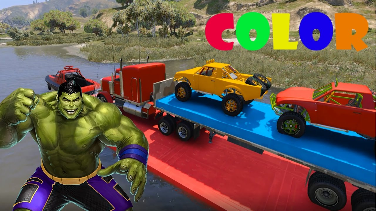 color cars and superheroes with spiderman drive boat