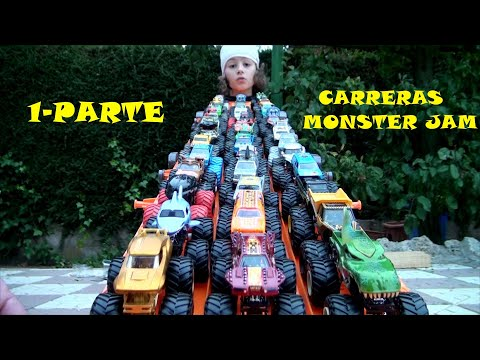 CARRERAS MONSTER JAM  PAPA VS HIJO HOT WHEELS EXPRESS 1-PARTE