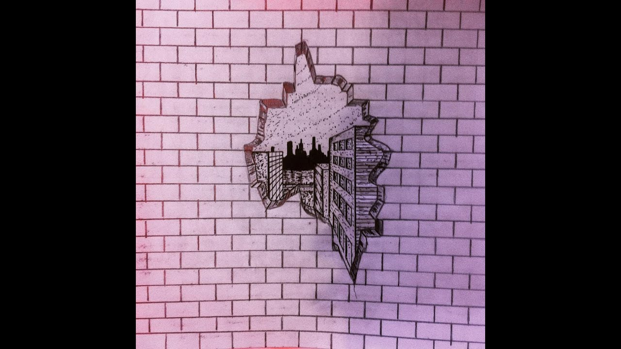 Cracked brick wall drawing brick wall - Cracked Brick Wall Drawing Brick Wall 3