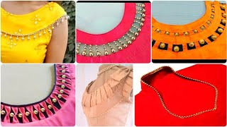 60+ Golden Pearl And Beads Creative &Easy To Make Neck Designs For Summer Dresses\Kurtis/Blouse\Frok