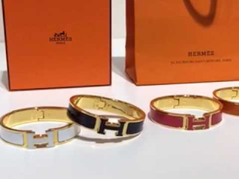 9bd0159828cc Hermes White Enamel Clic H Narrow Bracelet in Rose Gold - YouTube