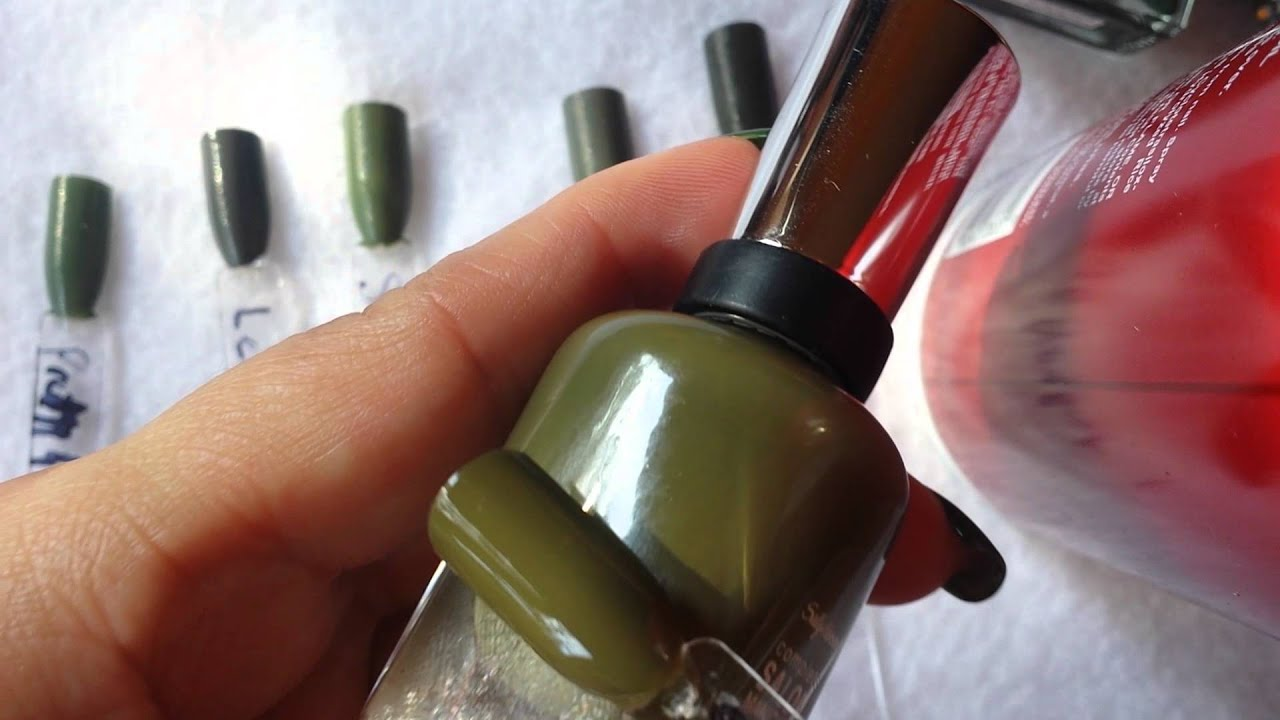My Olive Green Polish Collection Part 1 - Creams - YouTube
