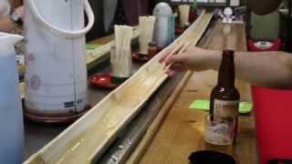 Flying noodle! Nagashi somen. Probably only in Japan