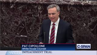 White House Counsel Pat Cipollone Begins Opening Arguments
